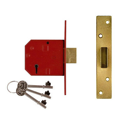 Union Y-2134-PL-2.50 5 Lever BS Mortice Deadlock Satin Brass Finish 67mm 2.5in