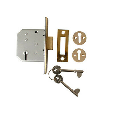 Union Y-2177-PL-2.50 3 Lever Mortice Deadlock Polished Brass 65mm 2.5in