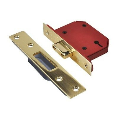 UNION Y2103S-PB-3.0 StrongBOLT 3 Lever Mortice Deadlock Polished Brass 81mm 3in