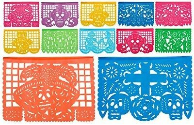"Day of the Dead Plastic Papel Picado ""Dia De Los Muertos 15ft long traditional."