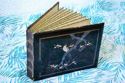 Antique 1890 Japanese Lacquered Mother of Pearl Shibayama Vintage Photo Album