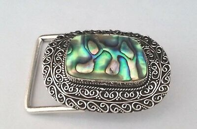 Abalone Shell Vintage Style Gemstone 925 Silver Plated  Belt Buckle