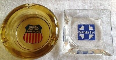 Two Vintage Railroad Glass Ashtrays Santa Fe & Union Pacific Advertising