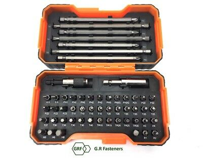 Bahco 54 Piece Pozi,Phillips,Hex,Tx,Screwdriver Bits & Magnetic Holder, 59/S54BC