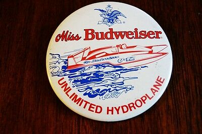 Unlimited Hydroplane Miss Budweiser U12 1970s Button Speed Boat Racing