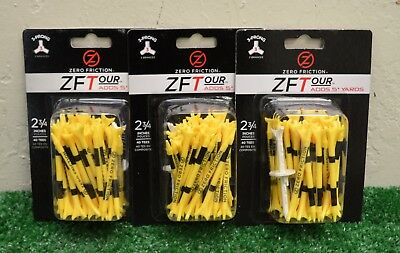"3 Zero Friction ZFTour 3 Prong Yellow Golf Tees 2 3/4"" - 40 Per Pack - ZT10013"