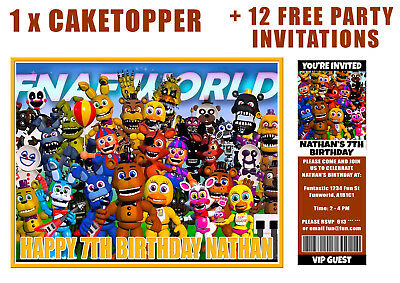 FIVE NIGHTS AT FREDDYS +12 FREE INVITATIONS Icing Image Cake Topper PERSONALISED