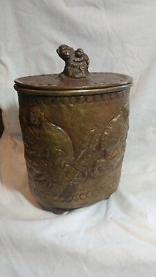 Antique Brass Round Raised Monkey Tobacco Tea Caddy Jar Box Container Humidor
