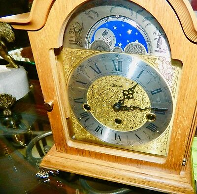 ****Beautiful F. HERMLE Key-wound  MOONPHASE WESTMINSTER Chime Mantel CLOCK*****