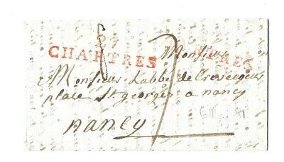 LAC  - Marque  Postale  rouge  27 / CHARTRES +  Chiffre Taxe 7