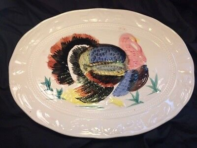 Vintage Turkey Thanksgiving Ceramic platter hand-painted 18 inch Made in Japan