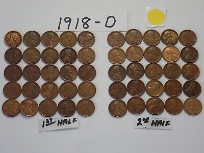 1918-D Solid Date Pennies=Roll 50 Lincoln Wheat Cents