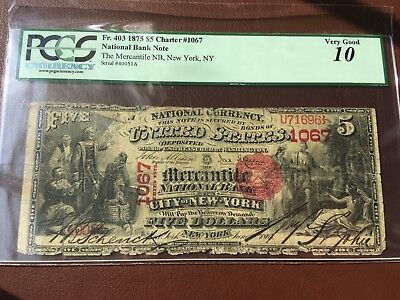 1875 $5 Fr. 403 Charter #1067 National Bank Note