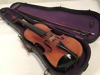 Antique Albert H Karr Bow & Unmarked Violin In Original Case Plays Beautifully
