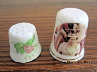 lot of 2 thimbles rose floral pink and Queen Elizabeth II St George Bone China