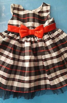 Baby Toddler Girl Size 12 Months Dress Red Black White Christmas Holiday EUC