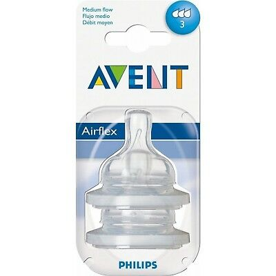 Avent Classic+ Silicone Teats - Medium Flow 3 Hole 3mth+ (2)