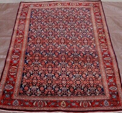 "4'8"" x 7'  Premium Quality Antique Bijar Hand Made 100% Wool Oriental Rug, 1920"