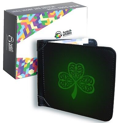 Celtic Shamrock Men's Black Leather Wallet Irish Money Holder Bifold Ireland