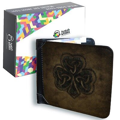Celtic Shamrock Men's Black Leather Wallet Irish Credit Card Holder Money Notes