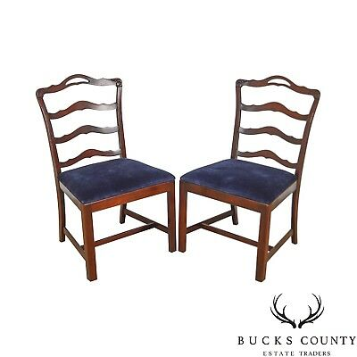 Chippendale Style Vintage Solid Mahogany Pair of Ladderback Side Chairs