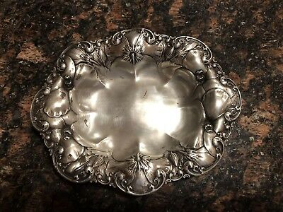 Repousse Sterling Silver Dish Tray Bowl Soap dish Hallmark