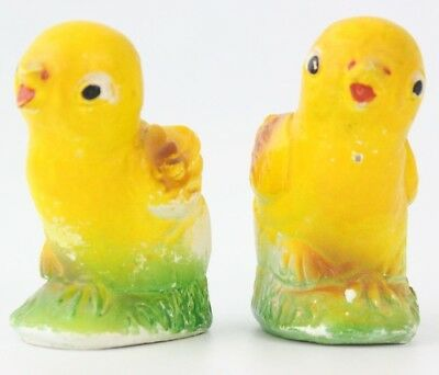 Vintage Plaster Chalkware Yellow Easter Chick Hatching Egg Base (Set of 2)