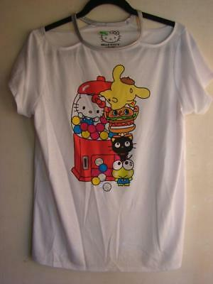 Hello Kitty White Ss T-Shirt W/cut Out Shoulder Ladies Jr Med New Last 1 Left