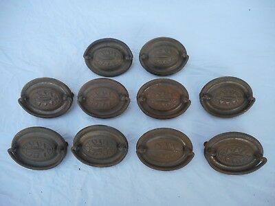 10 Vintage Metal Antique Chest of Drawer Pulls Handles Knobs Ornate