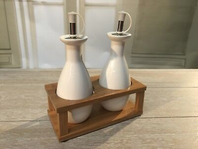 Oil And Vinegar Ceramic Bottles Set On Bamboo Stand Kitchen Serveware Homewares