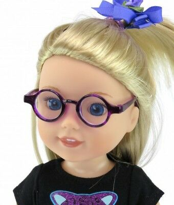 "Purple Circle Frame Glasses for 14.5/"" American Girl Wellie Wishers Doll Clothes"