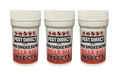 3 x Pest Direct Bed Bug Cockroach Killer Fogger House Room Smoke Fumers