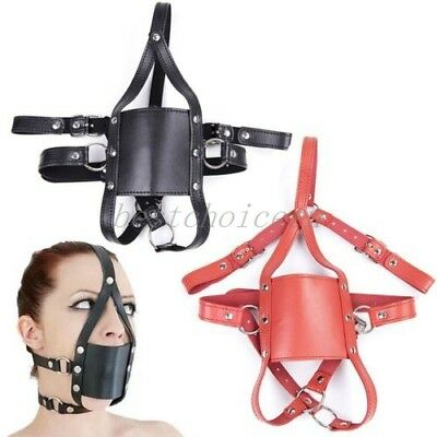 Gothic Slave Leather Mouth Mask Open Gag Head Restraits Harness Prisoner Face