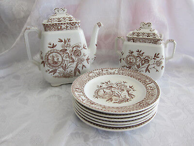 Antique ~Sitka T. Hughes Burslem Aesthetic Ware,Teapot, Sugar Bowl, Six Plates.