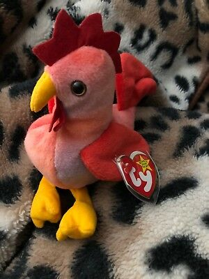 CT  TY BEANIE Baby ~ STRUT the Rooster ~ MINT with CREASED TAG ... d2fac913f8f