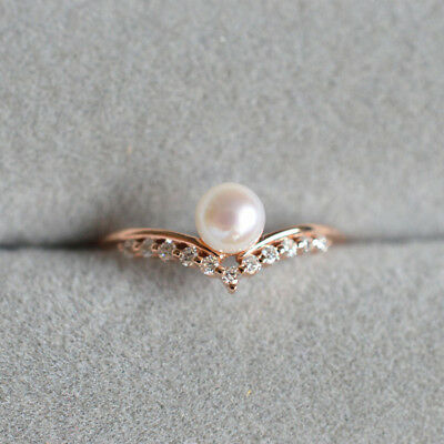 Fashion V Shaped Rose Gold Filled Women's Wedding Rings White Pearl Size 6-10