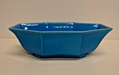 Vintage AMACO Art Pottery Art Deco Blue Center Bowl 12""