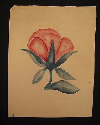 """19th Century Theorem Painting Red Rose Flower on the Vine 11"""" x 8.5"""""""