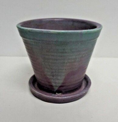 Muncie Art Pottery Green over Lilac Footed Vase 5""