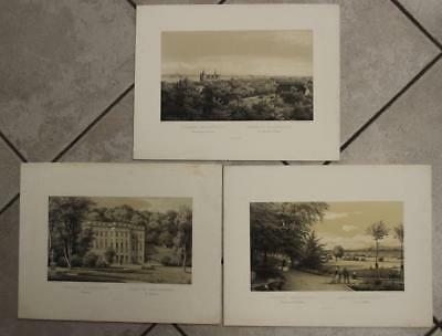 Marienlyst Norway 1850 Grove Set Of Three  Antique Original Lithographic Views