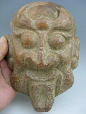 Chinese Antique Old Neolithic Hong Shan Culture Jade Sun God Alien Carving 8""