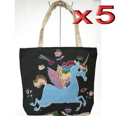 5pc Wholesale Large Unicorn Canvas Casual Shopper Tote Handbag Women Beach Bag