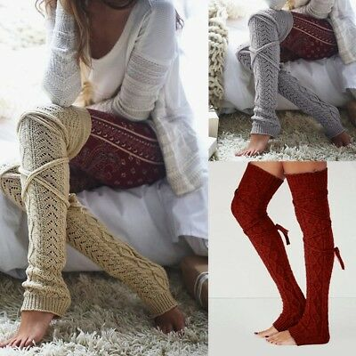 Girls Ladies Women Thigh High Over the Knee Long Socks Bandage Warm Stockings
