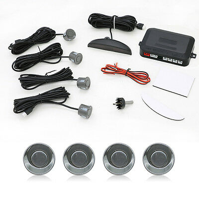 Car Parking Sensors LED Display Car Reverse Backup Kit System 4 Sensors Gray