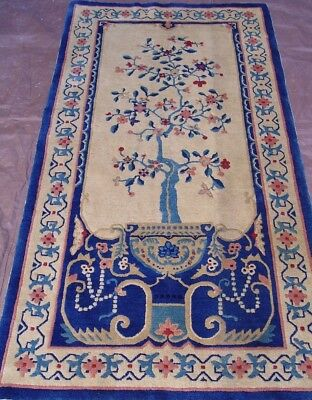 """ANTIQUE PEKING CHINESE HAND-KNOTTED WOOL ORIENTAL RUG 3' x 5'9"""""""
