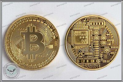 Bitcoin 2018 Gold Plated Physical Collectable Coin Virtual Currency 1oz In Capsu