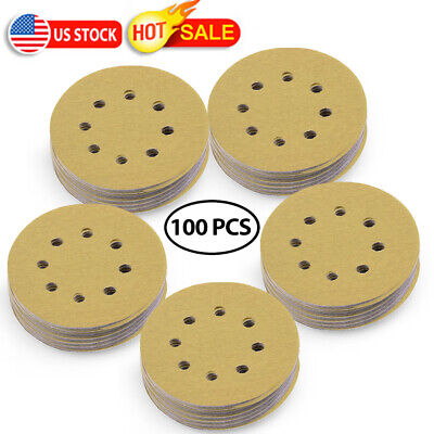 5in 220 Grit Hook and Loop Sanding Disc Orbital Sand paper Sander Sheet Dustless