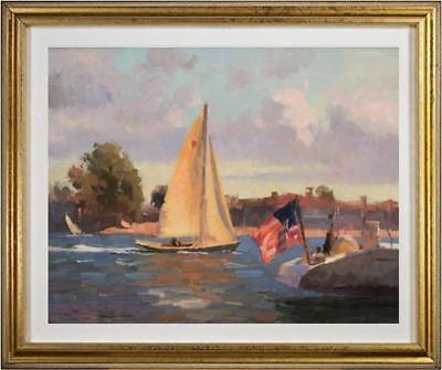 "Hand-painted Original Oil painting art impression sailboat On Canvas 24""x36"""