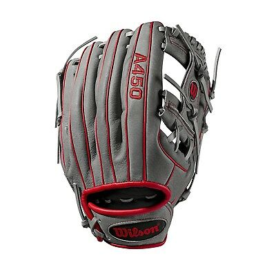 "(Right Hand Throw, 11.5"", Grey/Red) - Wilson A450 Baseball Glove Series"