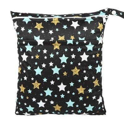 Wet Dry Bag Baby Cloth Diaper Nappy Bag Double Zippers Pocket Stars
